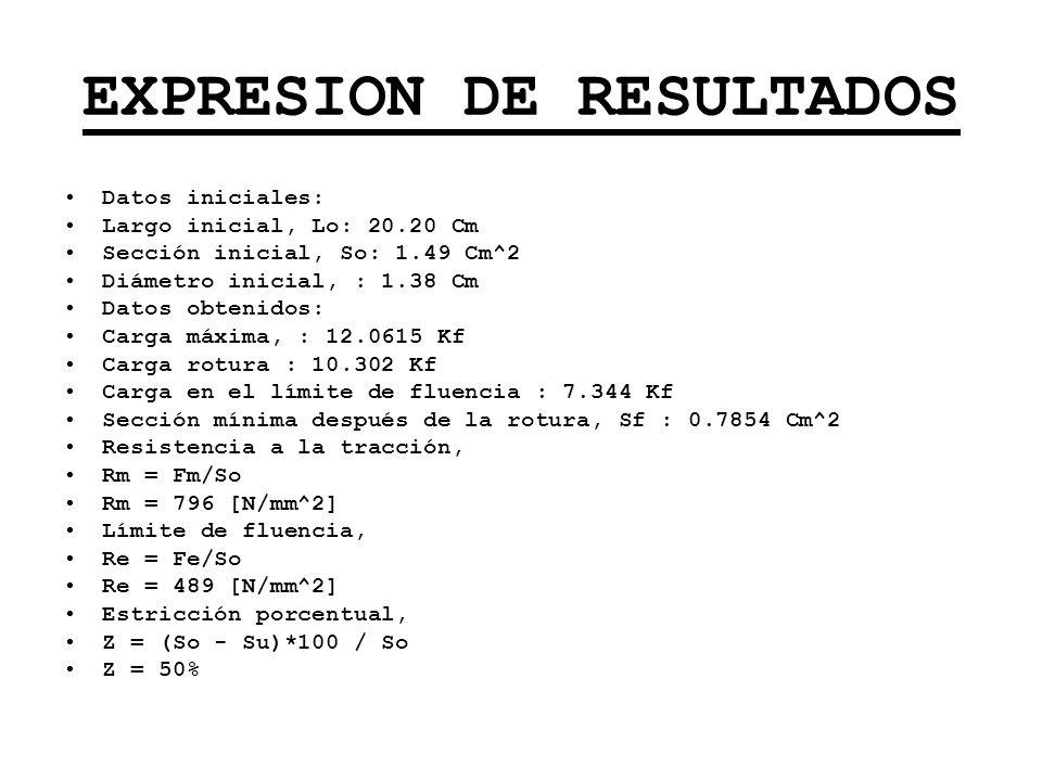 EXPRESION DE RESULTADOS Datos iniciales: Largo inicial, Lo: 20.20 Cm Sección inicial, So: 1.49 Cm^2 Diámetro inicial, : 1.38 Cm Datos obtenidos: Carga