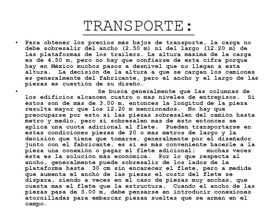 TRANSPORTE: Para obtener los precios más bajos de transporte, la carga no debe sobresalir del ancho (2.50 m) ni del largo (12.20 m) de las plataformas