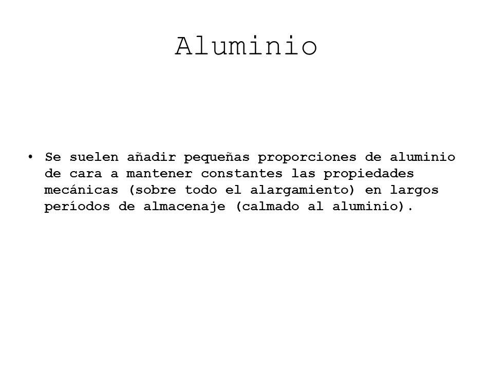 Aluminio Se suelen añadir pequeñas proporciones de aluminio de cara a mantener constantes las propiedades mecánicas (sobre todo el alargamiento) en la