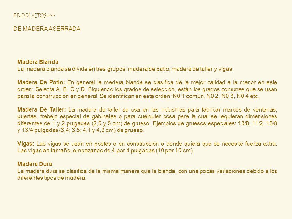 DE MADERA ASERRADA Madera Blanda La madera blanda se divide en tres grupos: madera de patio, madera de taller y vigas. Madera De Patio: En general la