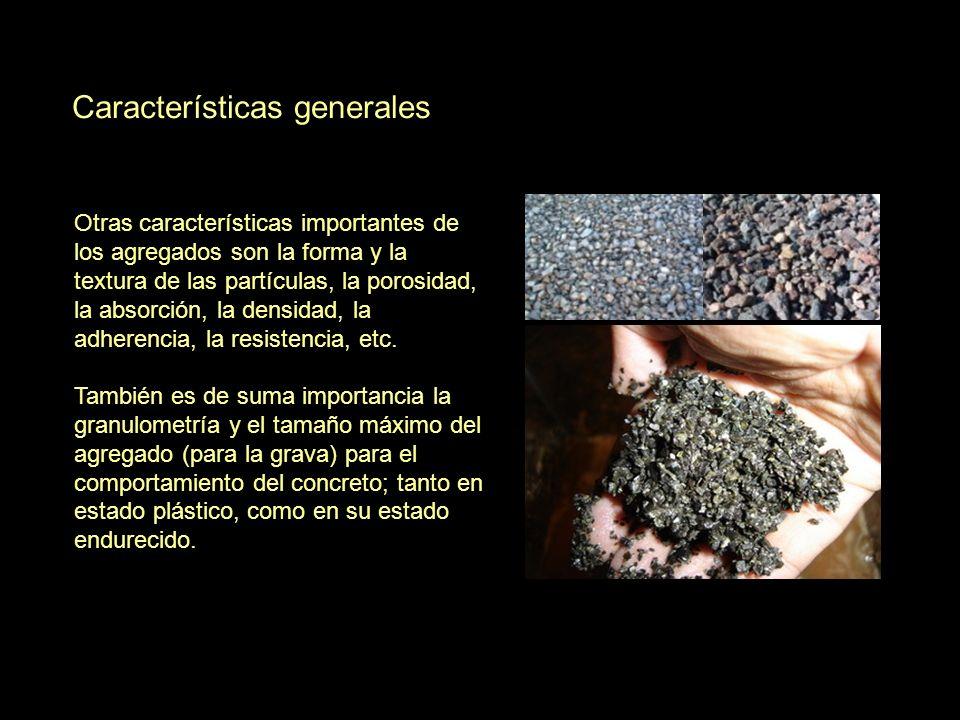 Características generales Otras características importantes de los agregados son la forma y la textura de las partículas, la porosidad, la absorción,