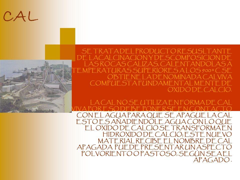 SE TRATA DEL PRODUCTO RESUSLTANTE DE LACALCINACION Y DESCOMPOSICION DE LAS ROCAS CALIZAS, CALENTANDOLAS A TEMPERATURAS SUPERIORES A LOS 900 º C SE OBT