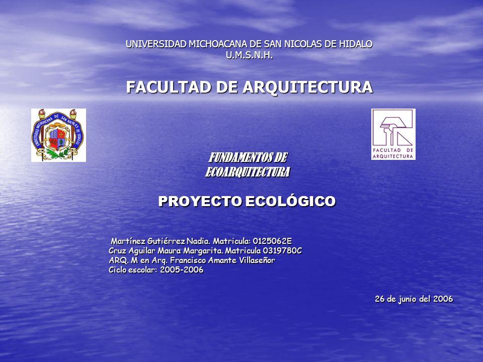 UNIVERSIDAD MICHOACANA DE SAN NICOLAS DE HIDALO U.M.S.N.H. FACULTAD DE ARQUITECTURA FUNDAMENTOS DE ECOARQUITECTURA PROYECTO ECOLÓGICO Martínez Gutiérr