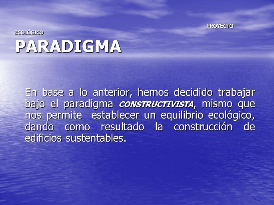 PROYECTO ECOLÓGICO PARADIGMA PROYECTO ECOLÓGICO PARADIGMA En base a lo anterior, hemos decidido trabajar bajo el paradigma CONSTRUCTIVISTA, mismo que
