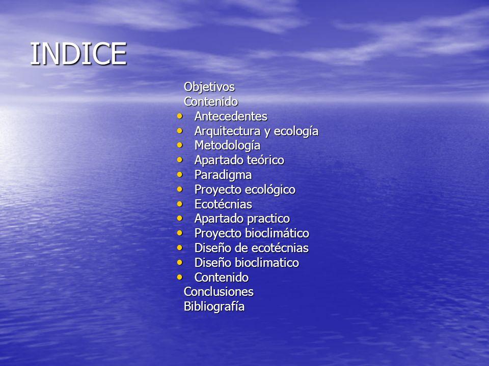 INDICE Objetivos Objetivos Contenido Contenido Antecedentes Antecedentes Arquitectura y ecología Arquitectura y ecología Metodología Metodología Apart