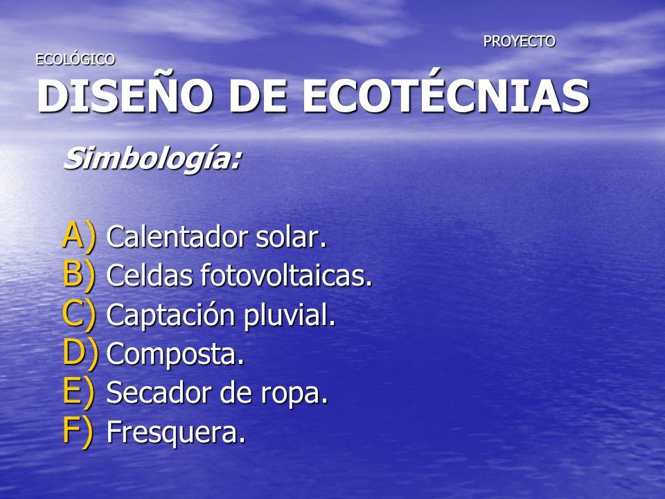 PROYECTO ECOLÓGICO DISEÑO DE ECOTÉCNIAS PROYECTO ECOLÓGICO DISEÑO DE ECOTÉCNIAS Simbología: A) Calentador solar. B) Celdas fotovoltaicas. C) Captación