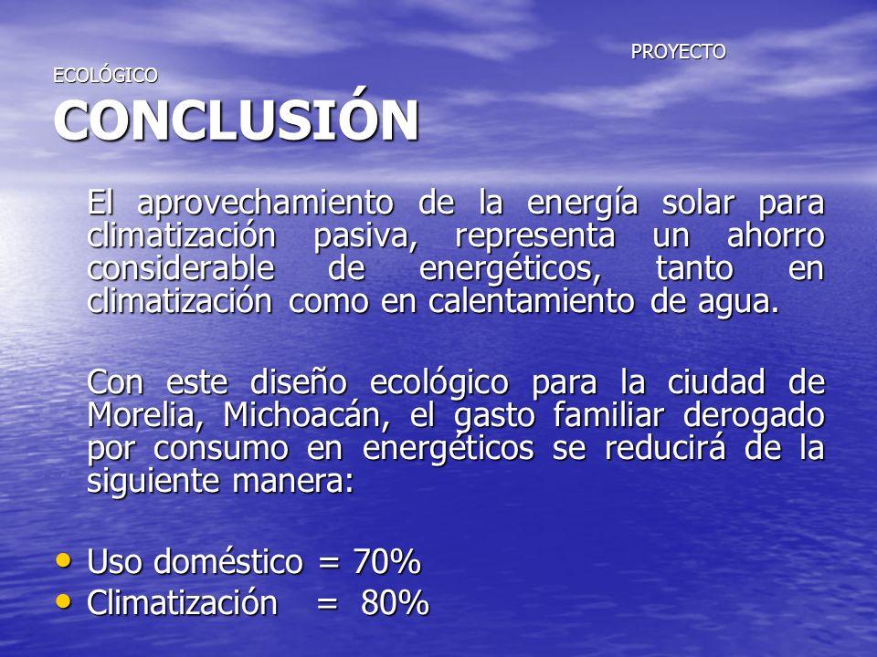PROYECTO ECOLÓGICO CONCLUSIÓN PROYECTO ECOLÓGICO CONCLUSIÓN El aprovechamiento de la energía solar para climatización pasiva, representa un ahorro con
