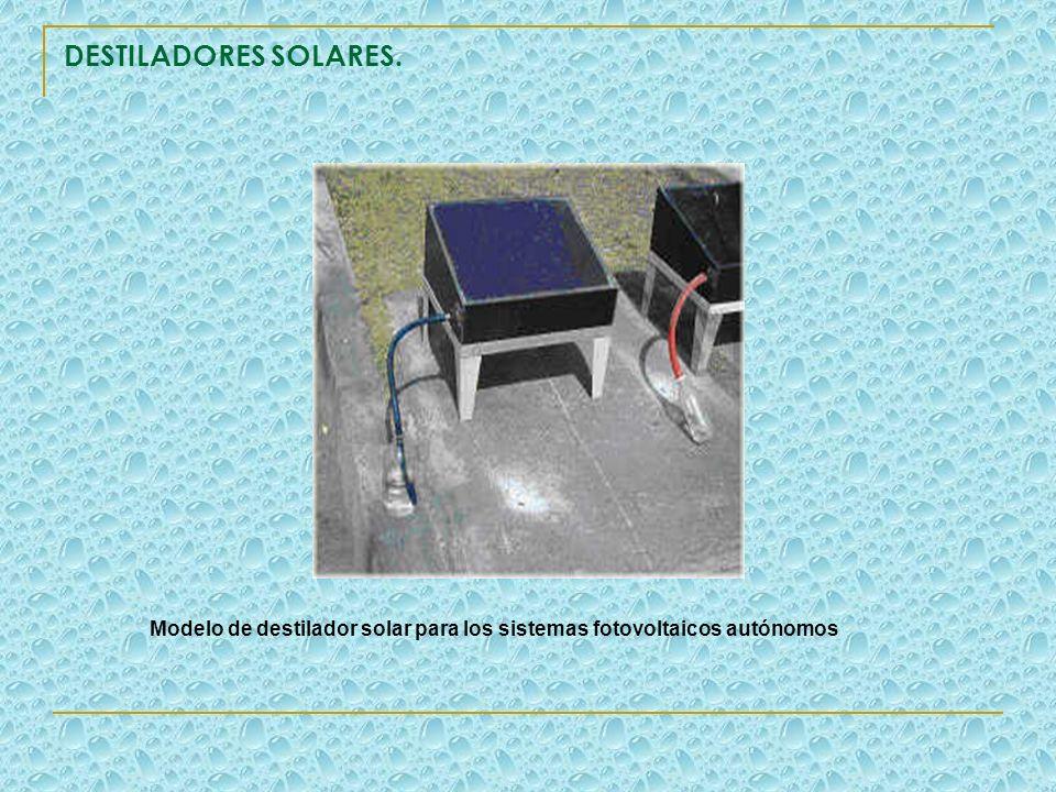 DESTILADORES SOLARES. Modelo de destilador solar para los sistemas fotovoltaicos autónomos