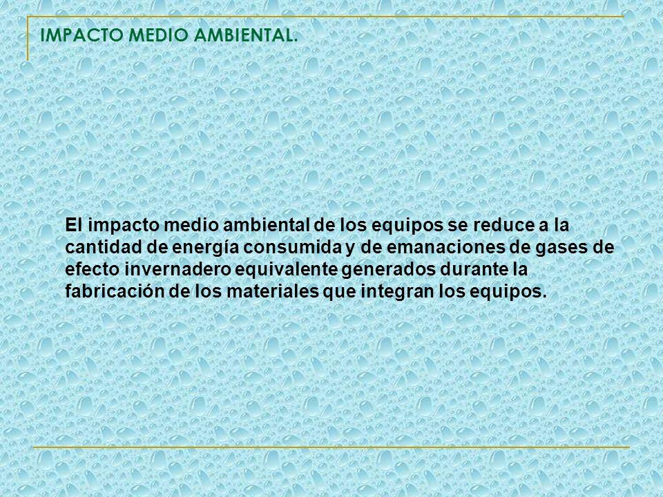 IMPACTO MEDIO AMBIENTAL. El impacto medio ambiental de los equipos se reduce a la cantidad de energía consumida y de emanaciones de gases de efecto in