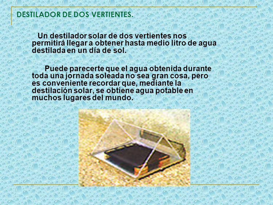 DESTILADOR DE DOS VERTIENTES. Un destilador solar de dos vertientes nos permitirá llegar a obtener hasta medio litro de agua destilada en un día de so