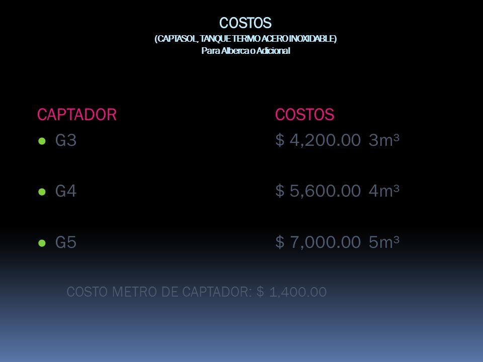 COSTOS (CAPTASOL, TANQUE TERMO ACERO INOXIDABLE) Para Alberca o Adicional CAPTADORCOSTOS G3$ 4,200.00 3m³ G4$ 5,600.00 4m³ G5$ 7,000.00 5m³ COSTO METR