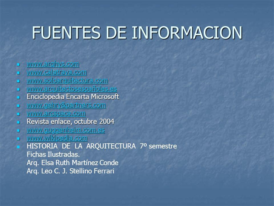 FUENTES DE INFORMACION www.arqhys.com www.arqhys.com www.arqhys.com www.calatrava.com www.calatrava.com www.calatrava.com www.soloarquitectura.com www