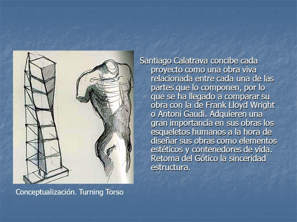 Santiago Calatrava concibe cada proyecto como una obra viva relacionada entre cada una de las partes que lo componen, por lo que se ha llegado a compa
