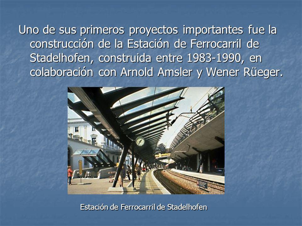 Uno de sus primeros proyectos importantes fue la construcción de la Estación de Ferrocarril de Stadelhofen, construida entre 1983-1990, en colaboració