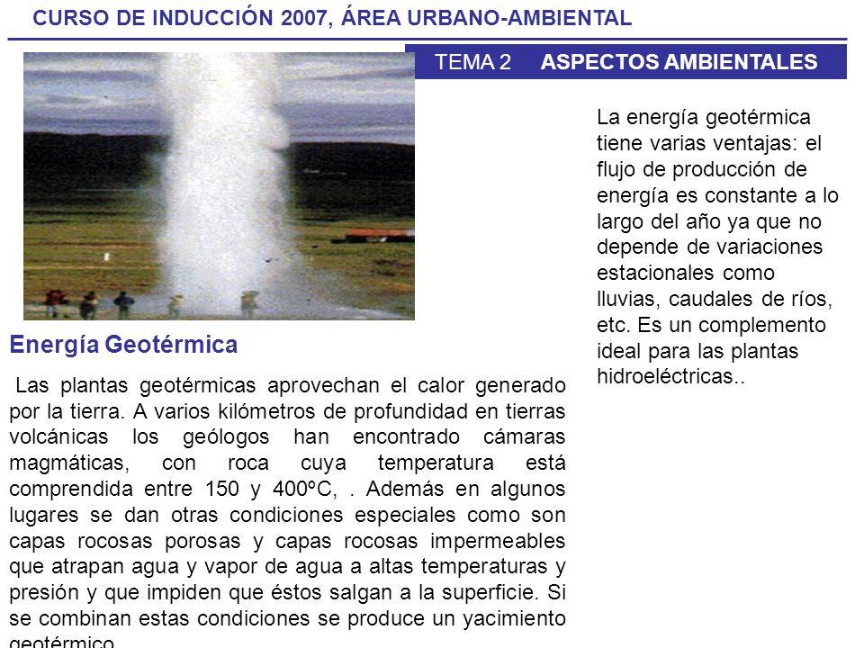 CURSO DE INDUCCIÓN 2007, ÁREA URBANO-AMBIENTAL TEMA 2 ASPECTOS AMBIENTALES Energía Geotérmica Las plantas geotérmicas aprovechan el calor generado por