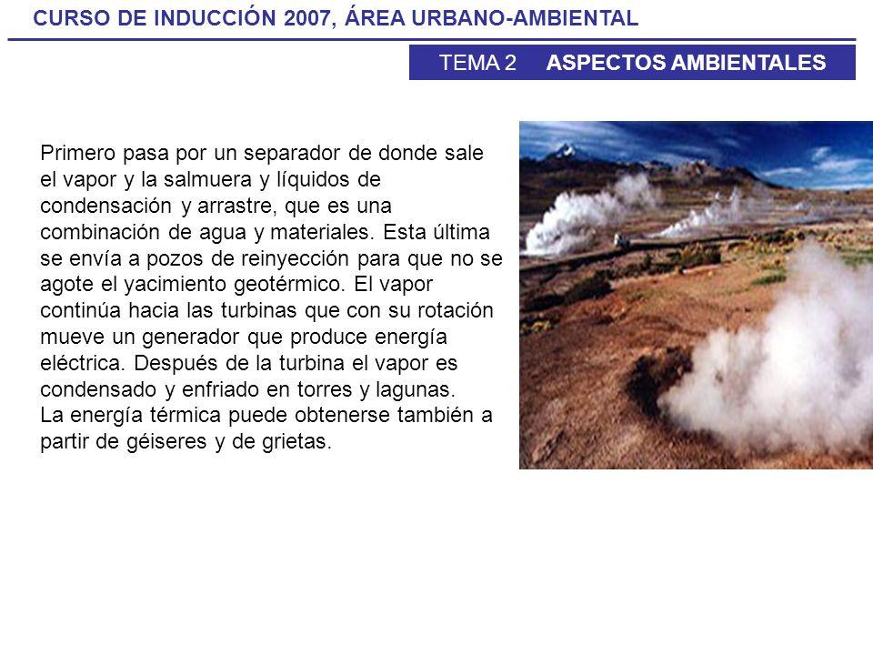 CURSO DE INDUCCIÓN 2007, ÁREA URBANO-AMBIENTAL TEMA 2 ASPECTOS AMBIENTALES Primero pasa por un separador de donde sale el vapor y la salmuera y líquid