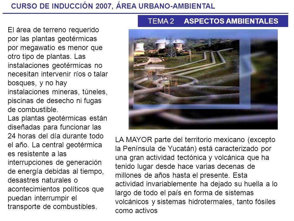 CURSO DE INDUCCIÓN 2007, ÁREA URBANO-AMBIENTAL TEMA 2 ASPECTOS AMBIENTALES El área de terreno requerido por las plantas geotérmicas por megawatio es m