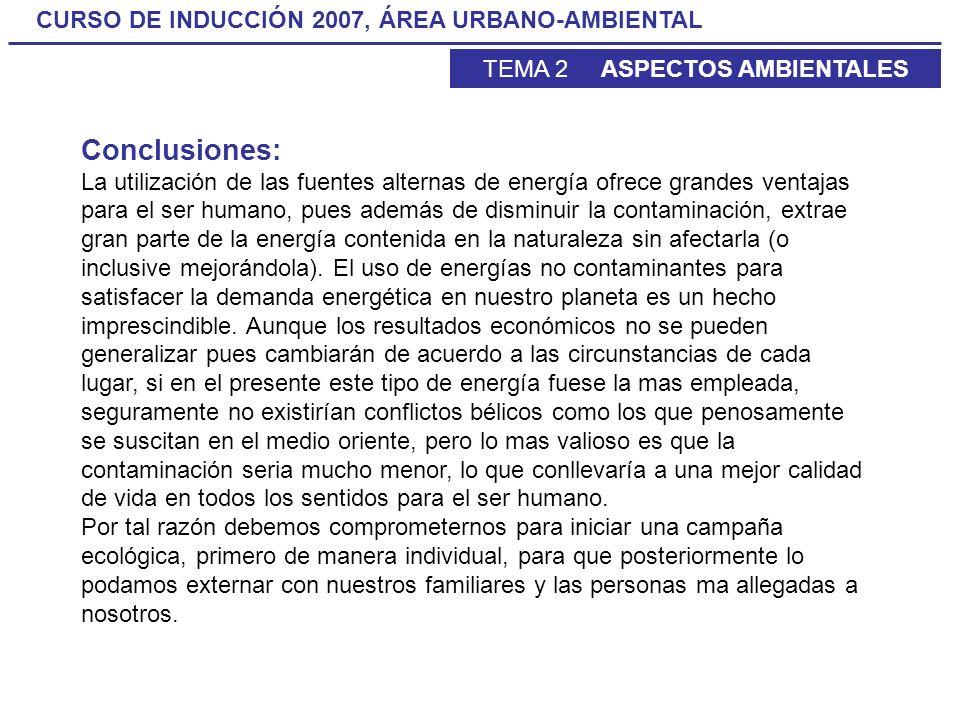 CURSO DE INDUCCIÓN 2007, ÁREA URBANO-AMBIENTAL TEMA 2 ASPECTOS AMBIENTALES Conclusiones: La utilización de las fuentes alternas de energía ofrece gran