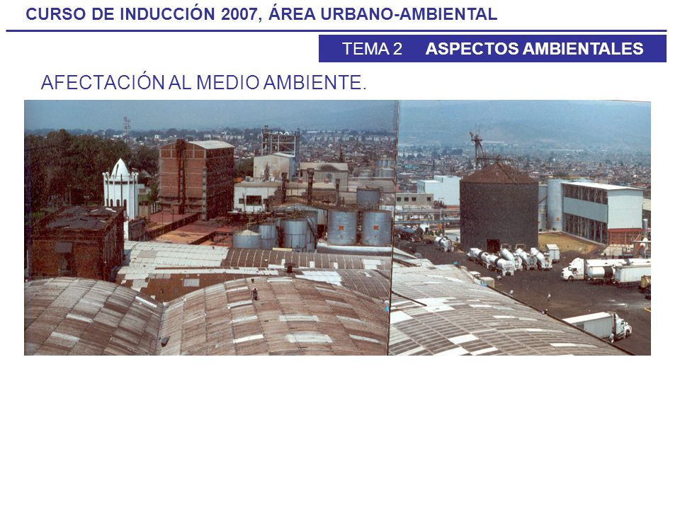 CURSO DE INDUCCIÓN 2007, ÁREA URBANO-AMBIENTAL TEMA 2 ASPECTOS AMBIENTALES AFECTACIÓN AL MEDIO AMBIENTE.