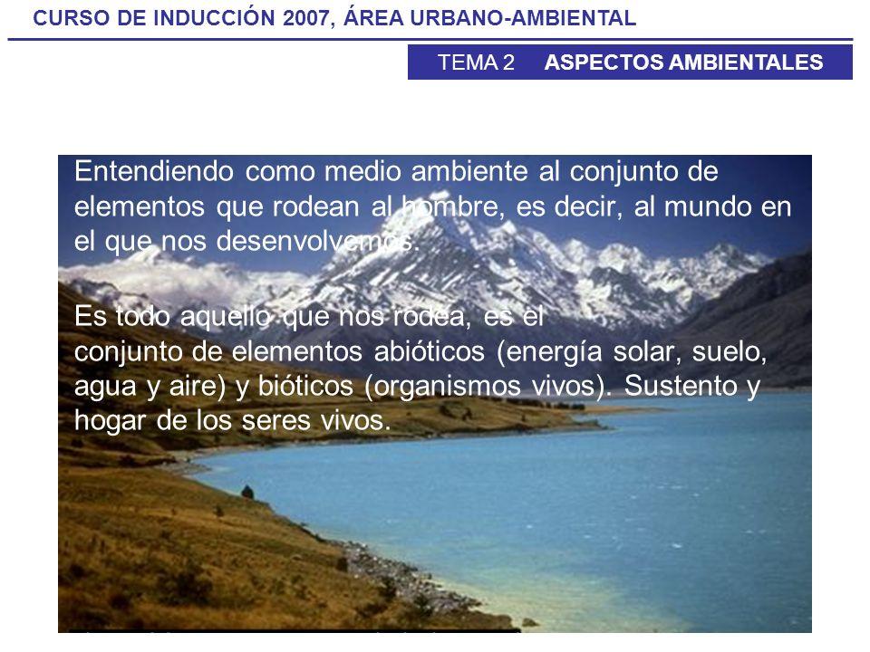 CURSO DE INDUCCIÓN 2007, ÁREA URBANO-AMBIENTAL TEMA 2 ASPECTOS AMBIENTALES Entendiendo como medio ambiente al conjunto de elementos que rodean al homb