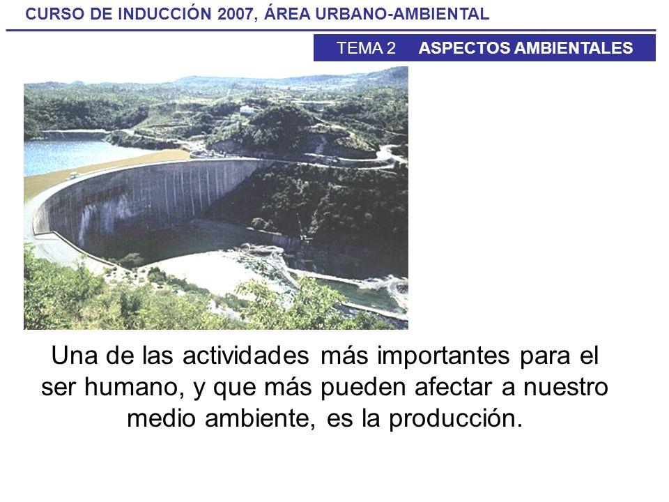 CURSO DE INDUCCIÓN 2007, ÁREA URBANO-AMBIENTAL TEMA 2 ASPECTOS AMBIENTALES Una de las actividades más importantes para el ser humano, y que más pueden