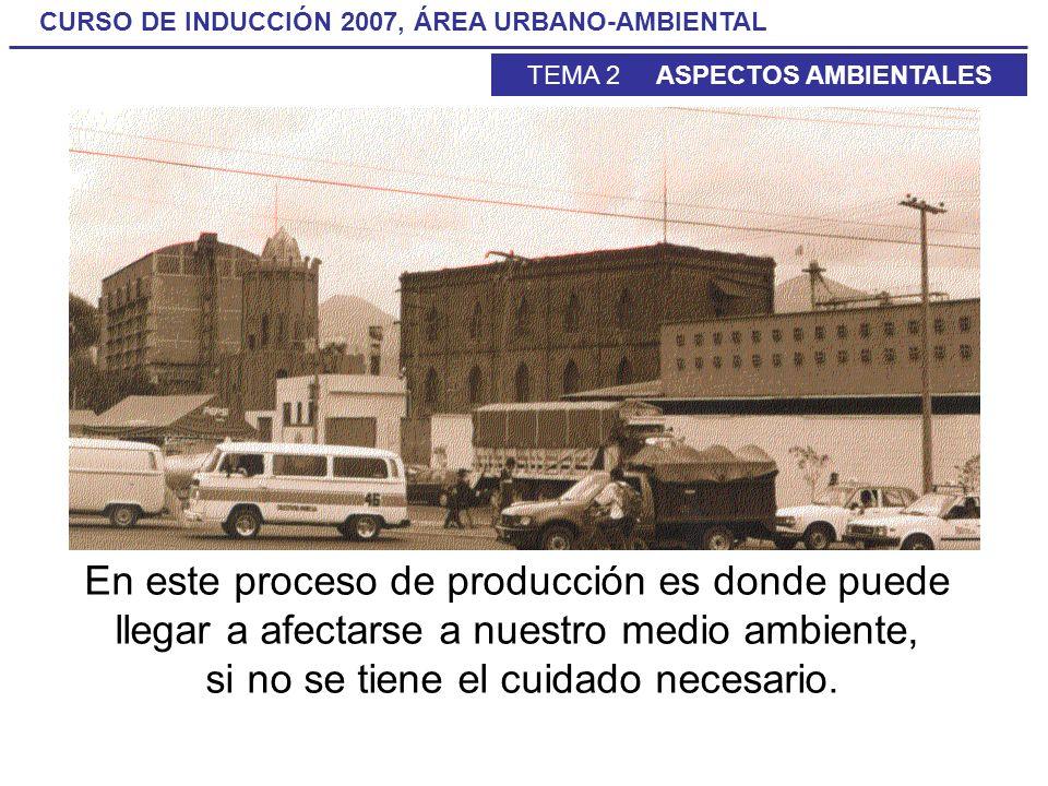 CURSO DE INDUCCIÓN 2007, ÁREA URBANO-AMBIENTAL TEMA 2 ASPECTOS AMBIENTALES En este proceso de producción es donde puede llegar a afectarse a nuestro m