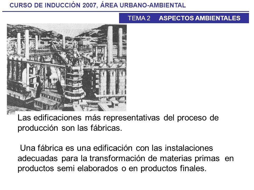 CURSO DE INDUCCIÓN 2007, ÁREA URBANO-AMBIENTAL TEMA 2 ASPECTOS AMBIENTALES Las edificaciones más representativas del proceso de producción son las fáb