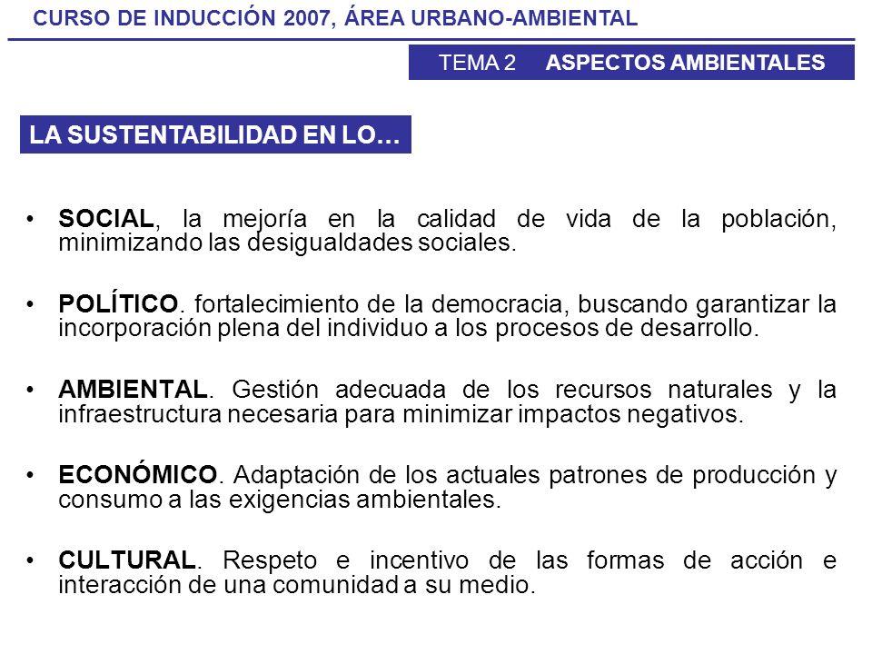CURSO DE INDUCCIÓN 2007, ÁREA URBANO-AMBIENTAL TEMA 2 ASPECTOS AMBIENTALES SOCIAL, la mejoría en la calidad de vida de la población, minimizando las d