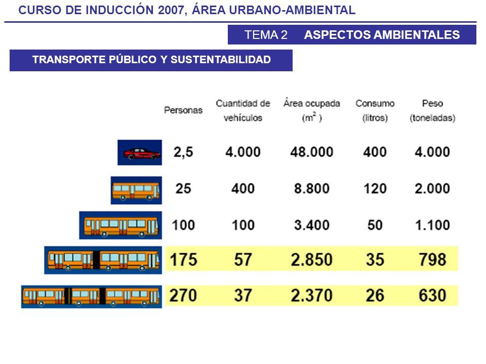 CURSO DE INDUCCIÓN 2007, ÁREA URBANO-AMBIENTAL TEMA 2 ASPECTOS AMBIENTALES TRANSPORTE PÚBLICO Y SUSTENTABILIDAD