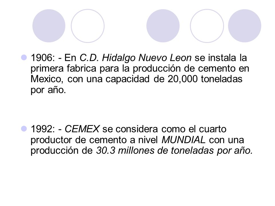 1906: - En C.D. Hidalgo Nuevo Leon se instala la primera fabrica para la producción de cemento en Mexico, con una capacidad de 20,000 toneladas por añ