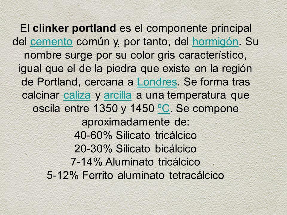 El clinker portland es el componente principal del cemento común y, por tanto, del hormigón. Su nombre surge por su color gris característico, igual q