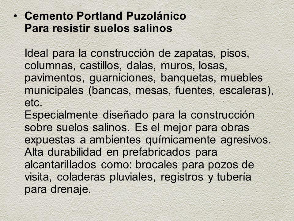 Cemento Portland Puzolánico Para resistir suelos salinos Ideal para la construcción de zapatas, pisos, columnas, castillos, dalas, muros, losas, pavim