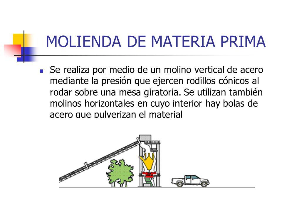 MOLIENDA DE MATERIA PRIMA Se realiza por medio de un molino vertical de acero mediante la presión que ejercen rodillos cónicos al rodar sobre una mesa
