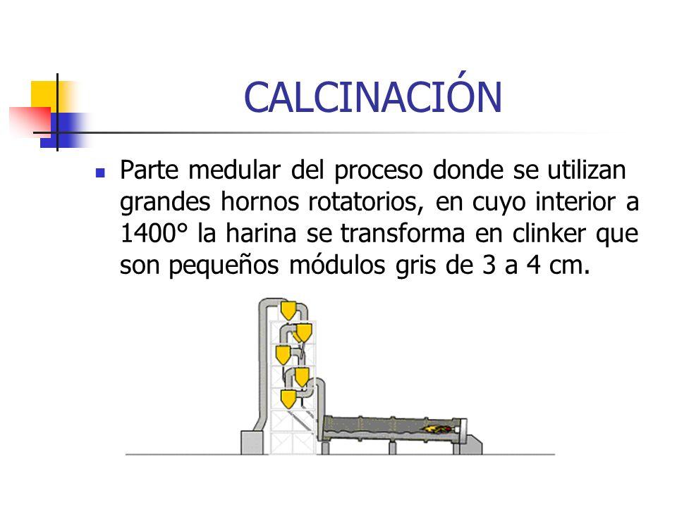 CALCINACIÓN Parte medular del proceso donde se utilizan grandes hornos rotatorios, en cuyo interior a 1400° la harina se transforma en clinker que son