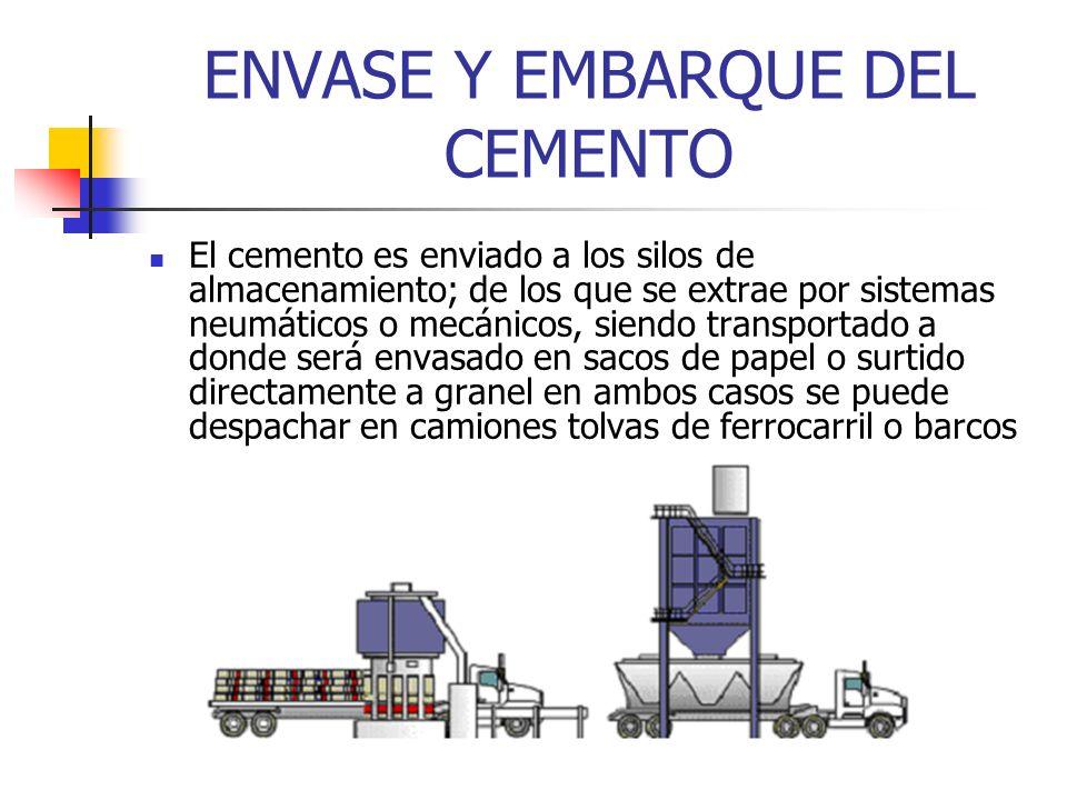 ENVASE Y EMBARQUE DEL CEMENTO El cemento es enviado a los silos de almacenamiento; de los que se extrae por sistemas neumáticos o mecánicos, siendo tr