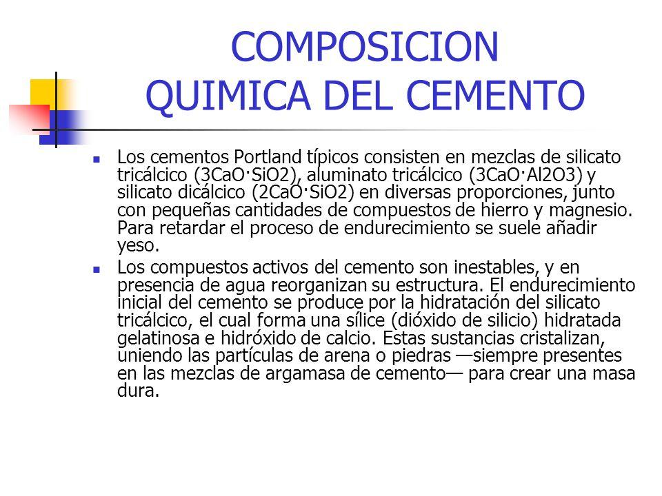 COMPOSICION QUIMICA DEL CEMENTO Los cementos Portland típicos consisten en mezclas de silicato tricálcico (3CaO·SiO2), aluminato tricálcico (3CaO·Al2O