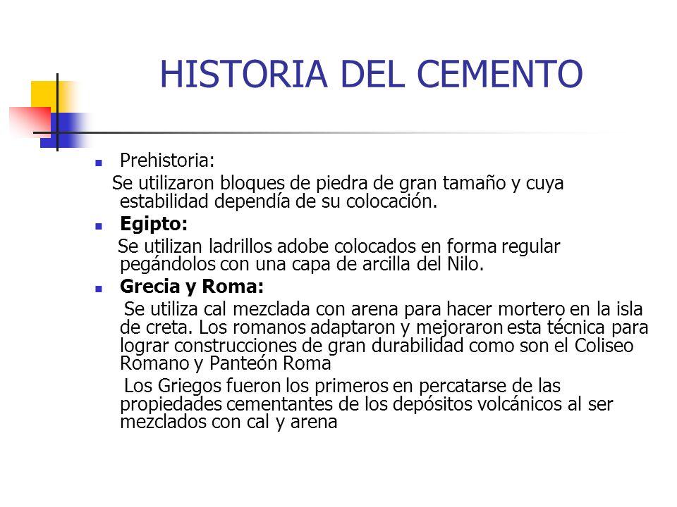 Prehistoria: Se utilizaron bloques de piedra de gran tamaño y cuya estabilidad dependía de su colocación. Egipto: Se utilizan ladrillos adobe colocado