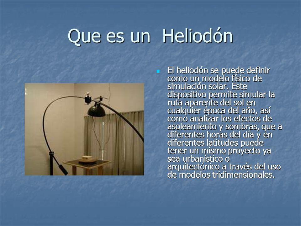 Que es un Heliodón El heliodón se puede definir como un modelo físico de simulación solar. Este dispositivo permite simular la ruta aparente del sol e