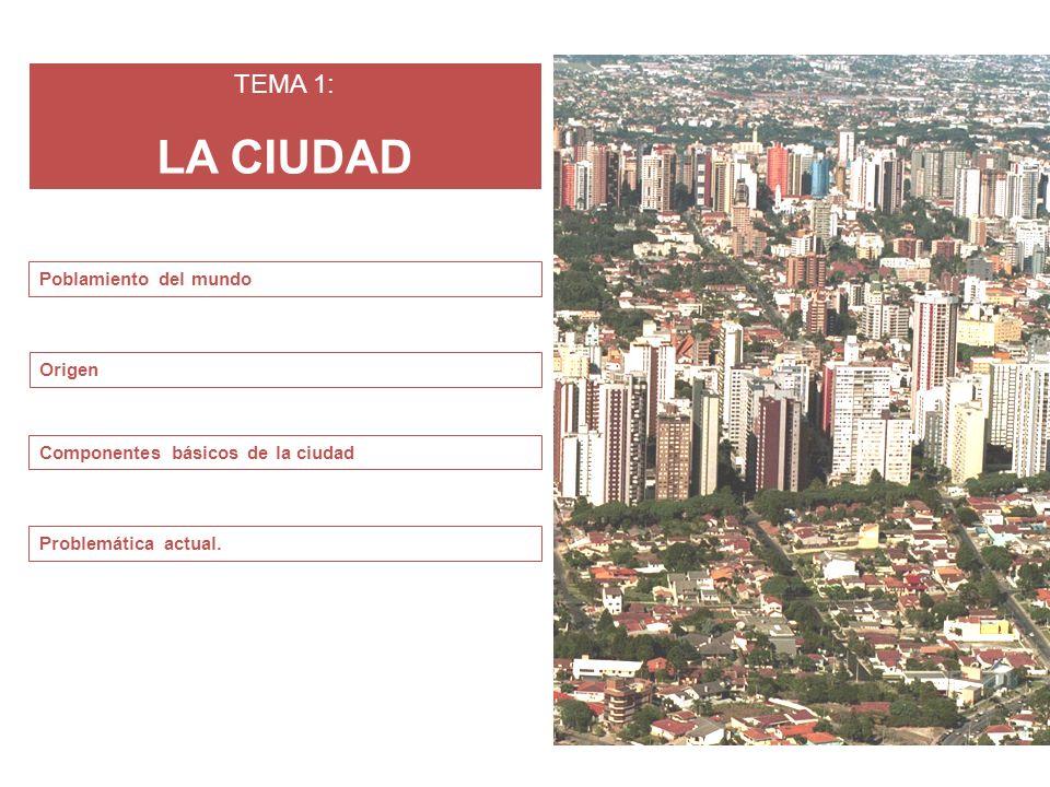 TEMA 1: LA CIUDAD Origen Componentes básicos de la ciudad Problemática actual. Poblamiento del mundo