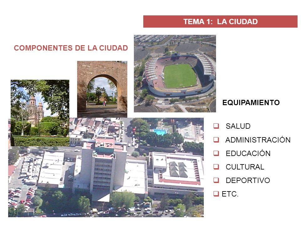 TEMA 1: LA CIUDAD COMPONENTES DE LA CIUDAD EQUIPAMIENTO SALUD ADMINISTRACIÓN EDUCACIÓN CULTURAL DEPORTIVO ETC.