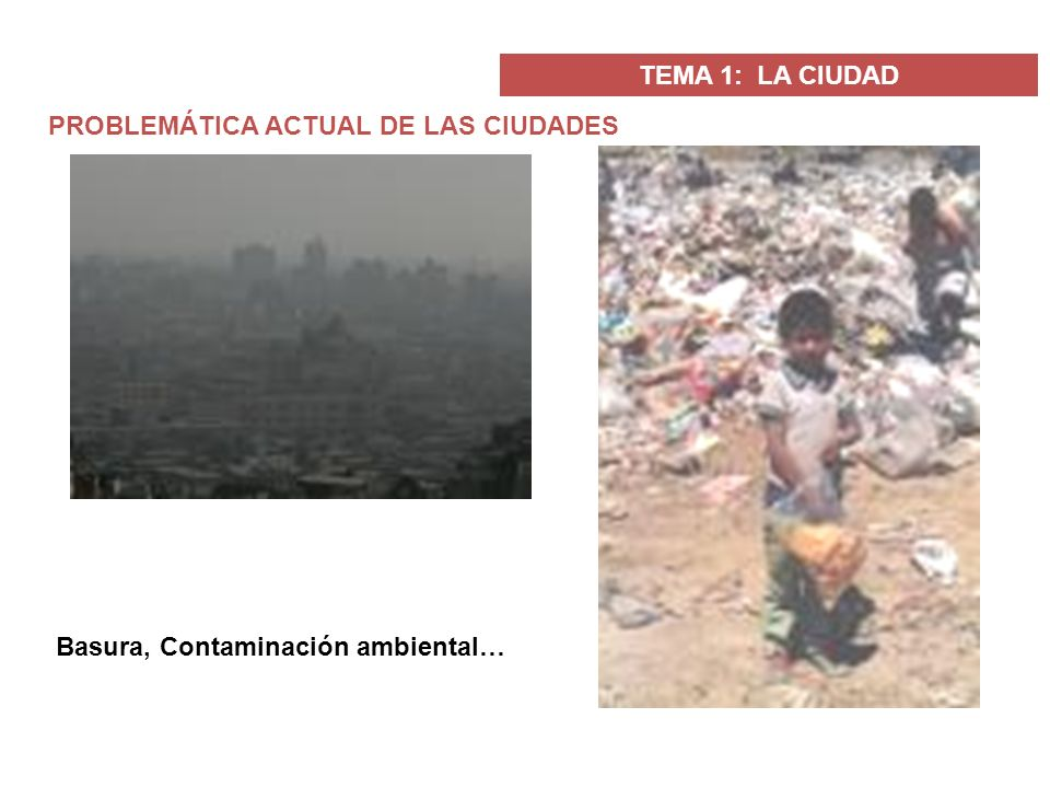 TEMA 1: LA CIUDAD PROBLEMÁTICA ACTUAL DE LAS CIUDADES Basura, Contaminación ambiental…
