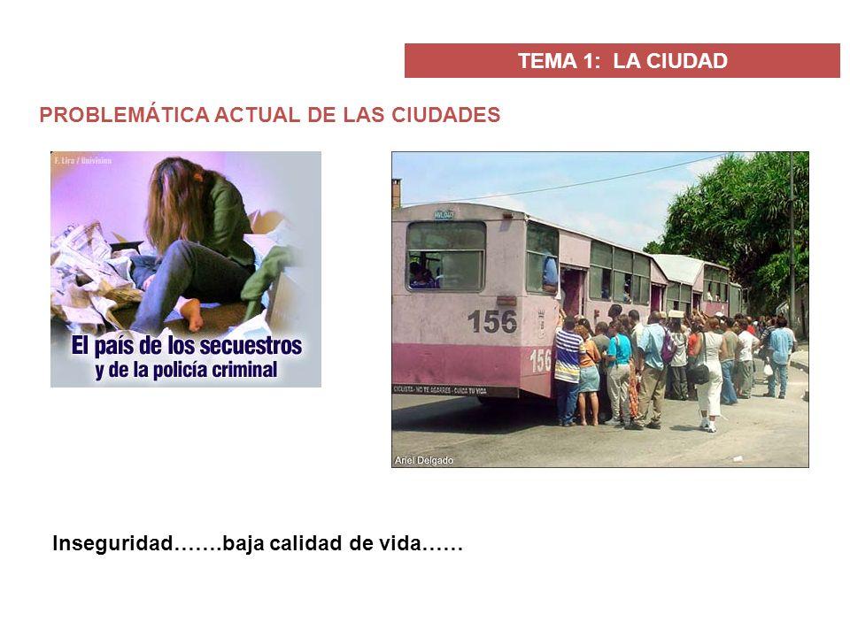 TEMA 1: LA CIUDAD PROBLEMÁTICA ACTUAL DE LAS CIUDADES Inseguridad…….baja calidad de vida……