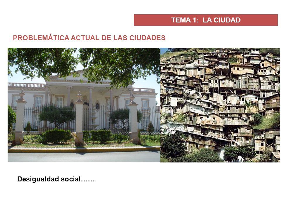 TEMA 1: LA CIUDAD PROBLEMÁTICA ACTUAL DE LAS CIUDADES Desigualdad social……