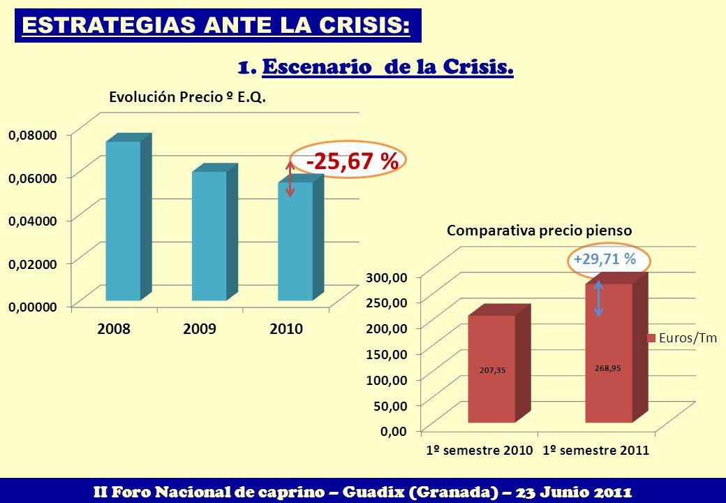 +29,71 % ESTRATEGIAS ANTE LA CRISIS: 1.Escenario de la Crisis. -25,67 % II Foro Nacional de caprino – Guadix (Granada) – 23 Junio 2011