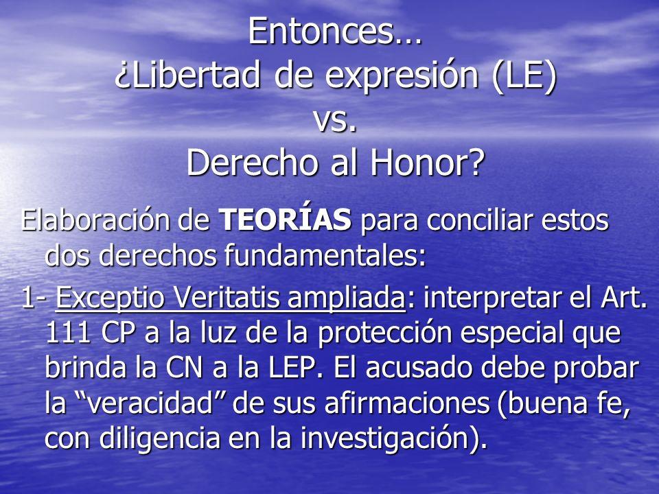 Entonces… ¿Libertad de expresión (LE) vs. Derecho al Honor? Elaboración de TEORÍAS para conciliar estos dos derechos fundamentales: 1- Exceptio Verita