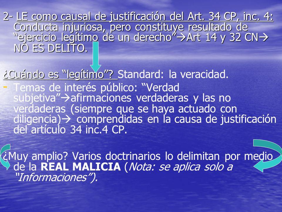 2- LE como causal de justificación del Art. 34 CP, inc. 4: Conducta injuriosa, pero constituye resultado de ejercicio legítimo de un derecho Art 14 y