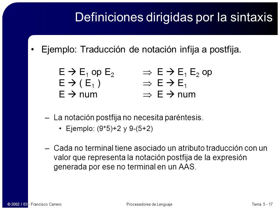 Tema 5 - 17Procesadores de Lenguaje© 2002 / 03 - Francisco Carrero Definiciones dirigidas por la sintaxis Ejemplo: Traducción de notación infija a postfija.