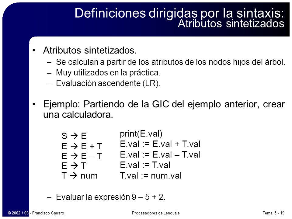 Tema 5 - 19Procesadores de Lenguaje© 2002 / 03 - Francisco Carrero Definiciones dirigidas por la sintaxis: Atributos sintetizados Atributos sintetizados.