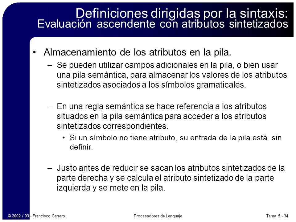 Tema 5 - 34Procesadores de Lenguaje© 2002 / 03 - Francisco Carrero Definiciones dirigidas por la sintaxis: Evaluación ascendente con atributos sintetizados Almacenamiento de los atributos en la pila.