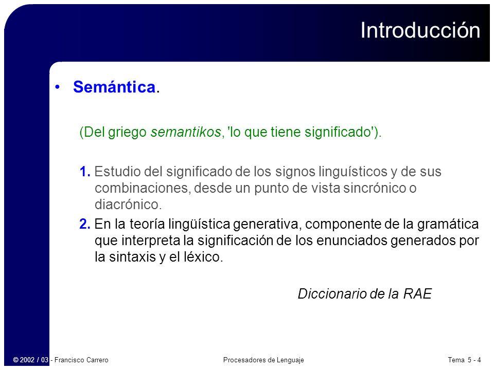 Tema 5 - 45Procesadores de Lenguaje© 2002 / 03 - Francisco Carrero Definiciones dirigidas por la sintaxis: Evaluación ascendente de atributos heredados Ejemplo: E T R R + T { print(+) } R   λ T num { print(num.valor) } Se transforma en: E T R R + T M R   λ T num { print(num.valor) } M λ { print(+) }